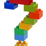 Question mark made from plastic building blocks